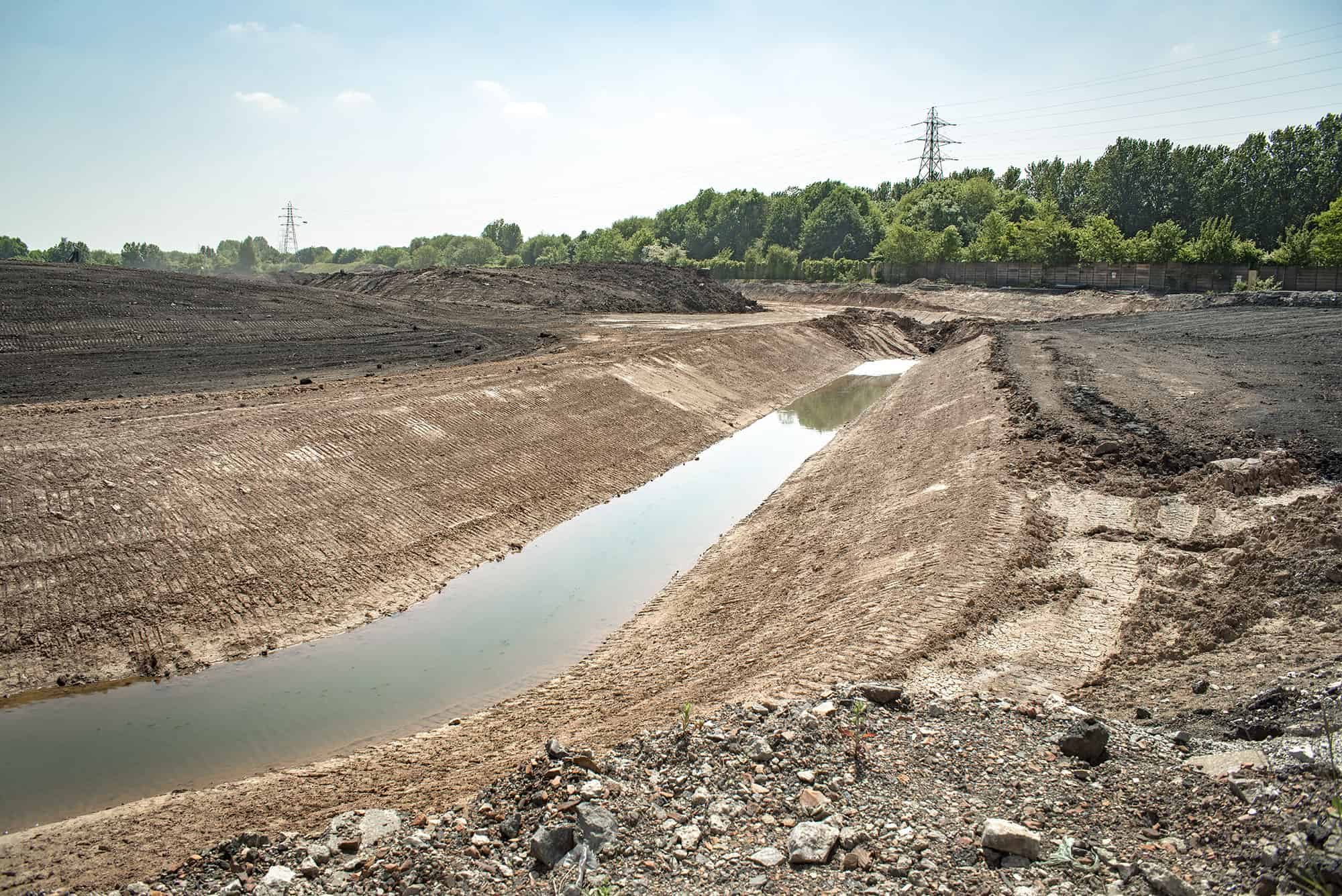 Ditch being constructed in brownfield site